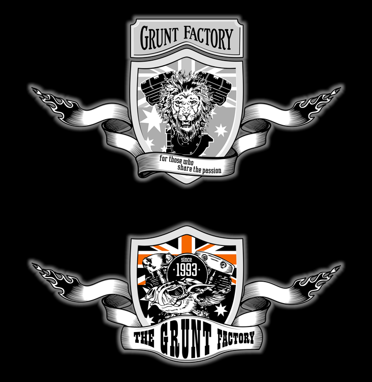 The Grunt Factory logo design (chopper workshop, harley-davidson, v-twin